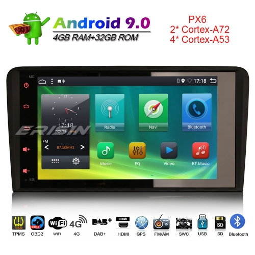 Erisin ES6273A Android 9.0 Car Stereo DAB+ 4G GPS Radio AUDI A3 S3 RS3 RNSE-PU Canbus OBD CAM-IN