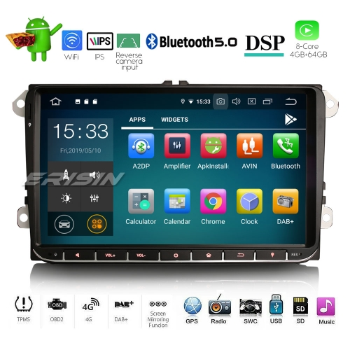 "Erisin ES8028V 9"" Car Stereo 8-Core Android 9.0 For Volkswagen Caddy Passat Golf 5 6 Touran Eos Polo Seat DAB+"