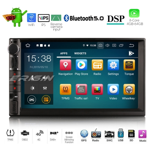 Erisin ES8049U 8-Core Double Din universal Android 9.0 Car Stereo Radio DAB+ WiFi DVR OBD Bluetooth 4G Sat Nav