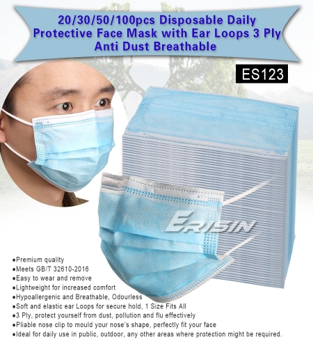 Erisin ES123 Anti-virus Mask Haze Face Mouth Mask Disposable Facial Protective Soft Mask 3Ply