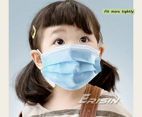 Erisin ES125 Child Face Mask Disposable Protection Anti-Virus/Dust Dustproof Nonwoven Fabric CE Certified Blue Children