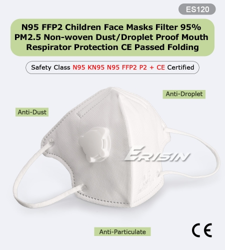 Erisin ES120 N95 FFP2 Children Face Masks Filter 95% PM2.5 Non-woven Dust/Droplet Proof Mouth Respirator Protection CE Passed Folding