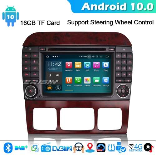 Erisin ES5182S CarPlay Android 10.0 Car Stereo GPS DVD Mercedes Benz S/CL Class W220 W215 S500 4G WiFi Bluetooth