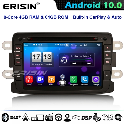Erisin ES8783D DSP 8-Core Android 10.0 Car Stereo GPS Head Unit Renault Dacia Duster Sandero Dokker CarPlay 4G WiFi Bluetooth