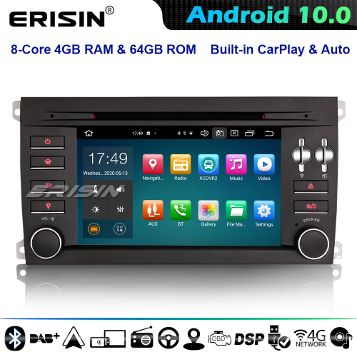 Erisin ES8197S 64GB 8-Core DSP CarPlay Android 10.0 Car Stereo GPS Radio for Porsche Cayenne CD 4G WiFi Bluetooth