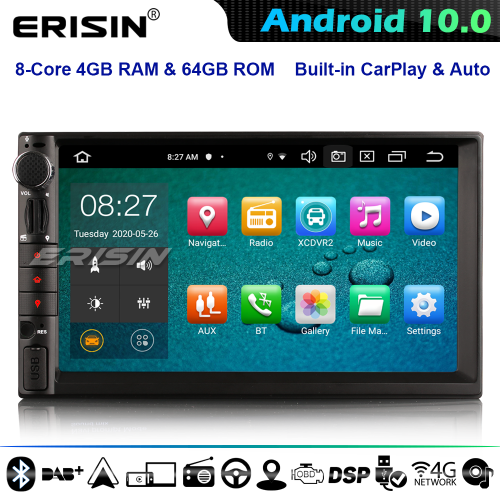 Erisin ES8149U 8-Core Double Din/Nissan Car Stereo GPS Sat Nav Android 10.0 Bluetooth WiFi 4G DAB+ DSP CarPlay