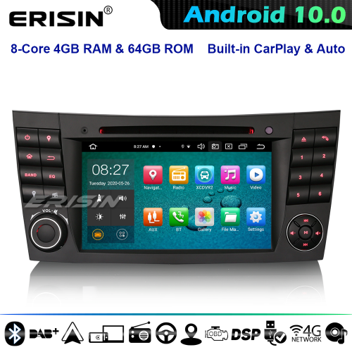 Erisin ES8180E 8-Core Android 10 Car Stereo GPS Radio For Mercedes Benz E/CLS/G W211 W219 DSP CarPlay CD 4G WiFi Bluetooth