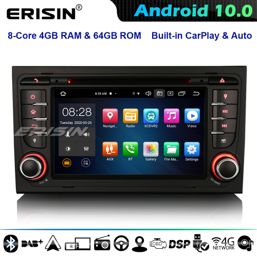 Erisin ES8178A DSP 8-Core Android 10.0 Car Stereo GPS Audi A4 S4 RS4 RNS-E Seat Exeo DAB+ CarPlay 4G WiFi Bluetooth