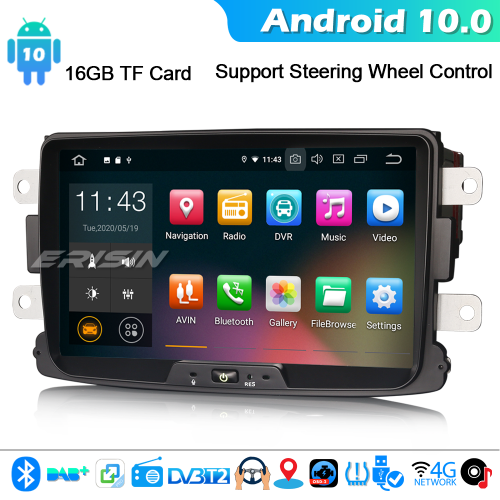 Erisin ES5129D Android 10.0 Car Stereo DAB+ GPS SatNav For Renault Dacia Sandero Duster Lodgy Dokker 4G WiFi Bluetooth