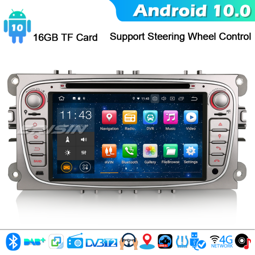 Erisin ES5109FS Android 10.0 Car Stereo DAB+ GPS SatNav CD For Ford Mondeo Focus S/C-Max Galaxy CarPlay 4G WiFi Bluetooth