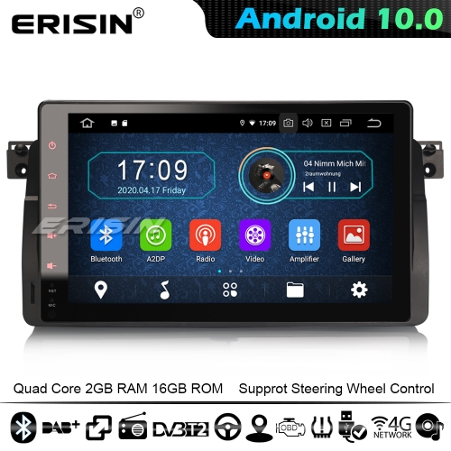 "Erisin ES5996B 9"" Car Multimedia Player Android 10.0 GPS Stereo DAB+ CarPlay BMW 3 Series E46 Rover 75 MG ZT 4G WiFi Bluetooth"