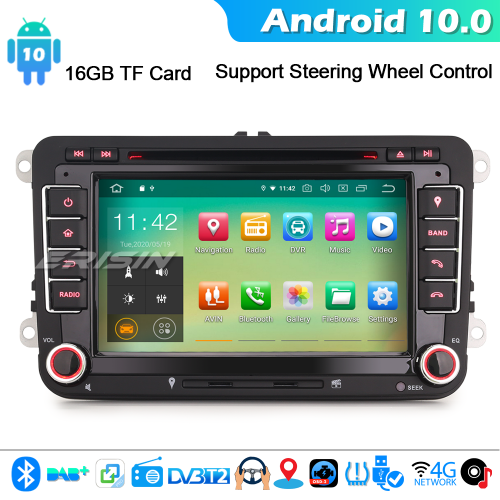 Erisin ES5148V Android 10.0 Car Stereo For VW Passat Golf Touran Eos Polo Seat DAB+ DVD CarPlay DAB+ 4G WiFi Bluetooth