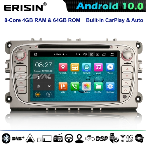 Erisin ES8109FS 8-Core Android 10.0 Car Stereo GPS SAT NAV DAB+ CarPlay for Ford Focus Mondeo S/C-Max Galaxy DSP 4G WiFi Bluetooth