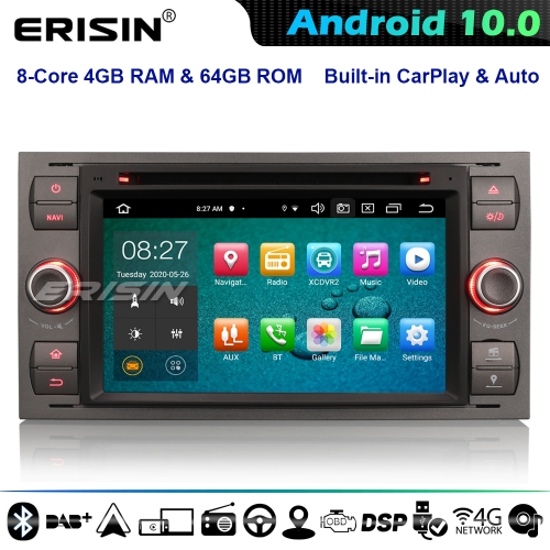 Erisin ES8166F 8-Core Android 10.0 GPS Stereo Ford C/S-Max Transit Galaxy Kuga Focus Fiesta DVD CarPlay DSP 4G WiFi Bluetooth