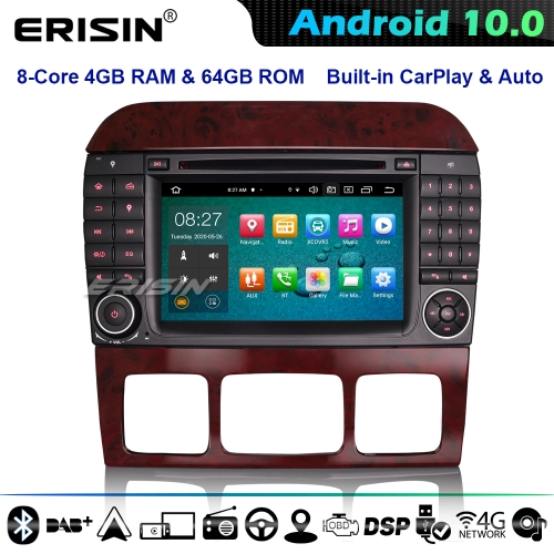 Erisin ES8182S 8-Core DSP CarPlay Android 10.0 Car Stereo GPS DVD Mercedes Benz S/CL Class W220 W215 4G WiFi  DAB+ Bluetooth
