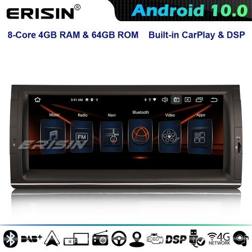 "Erisin ES8153B 10.25"" 8-Core Car Stereo GPS SAT NAV Android 10.0 BMW 5 Series E39 X5 E53 M5 DSP CarPlay IPS DAB+ 4G WiFi BT"