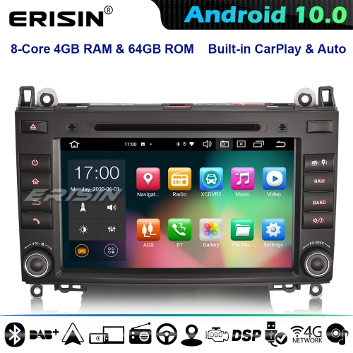 Erisin ES8121B DSP 8-Core Android 10.0 Car Stereo GPS Radio Mercedes A/B Class W169 W245 Sprinter Viano Vito Crafter CarPlay 4G WiFi Bluetooth