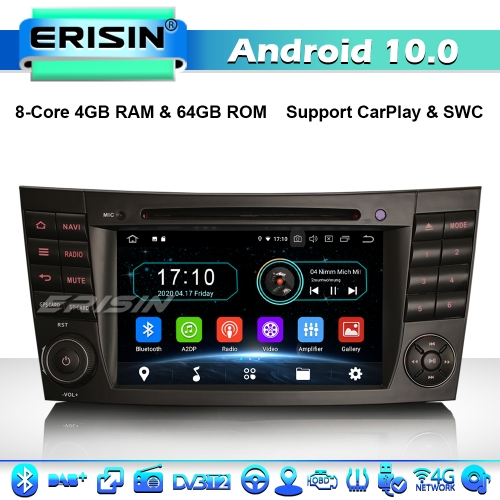 Erisin ES6980E 8-Core Android 10.0 Car Stereo Head Unit GPS Radio For Mercedes Benz E/CLS/G Class W211 W219 DAB+ DVD 4G WiFi CarPlay