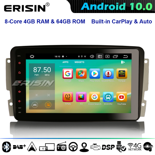 Erisin ES8187C DSP Android 10.0 Car Stereo GPS Radio SatNav For Mercedes Benz C/CLK/G Class Vito Viano DAB+ 4G WiFi CarPlay Bluetooth 8-Core