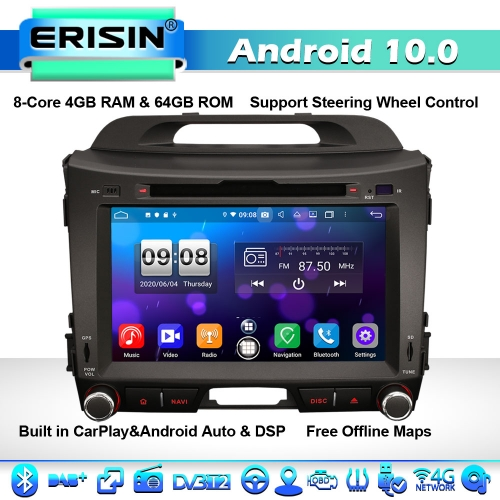 "Erisin ES8733S 8"" Android 10.0 8-Core Car Stereo GPS SATNAV for Kia Sportage 4G WiFi DSP CarPlay DVD Bluetooth"