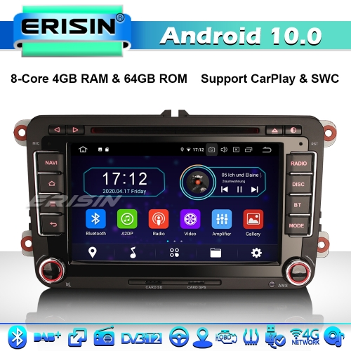 Erisin ES6948V 7' Android 10.0 Car Stereo Head Unit for VW Golf Jetta Passat Seat Skoda DSP CarPlay & Auto GPS TPMS DAB+ 4G 8-Core DVD System