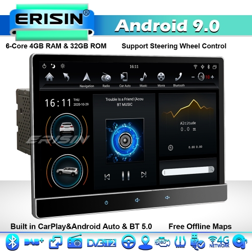 "Erisin ES8722T 12.2"" DAB+ Double DIN Rotation Tesla Style Car Stereo GPS SAT NAV Android 9.0 WiFi 4G BT 5.0 DSP CarPlay IPS Screen"