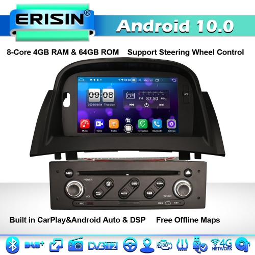 Erisin ES8772M DSP 8-Core Android 10 Car Stereo GPS Sat Nav Renault Megane II 2002-2008 CarPlay BT DAB+ 4G WiFi