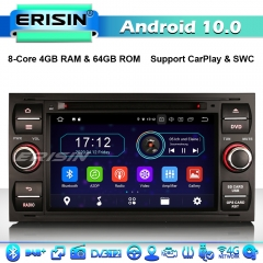 Erisin ES6931FB 8-Core Android 10.0 Car Stereo GPS Radio DAB+ CarPlay Ford C/S-Max Galaxy Kuga Focus Transit 4G WiFi Bluetooth