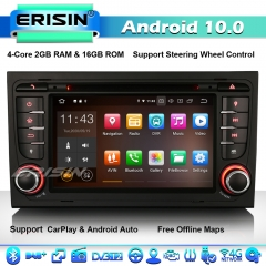 Erisin ES5178A Android 10.0 CarPlay GPS Stereo SatNav DVD for Audi A4 S4 RS4 RNS-E Seat Exeo 8E 8F B9 B7 4G WiFi BT