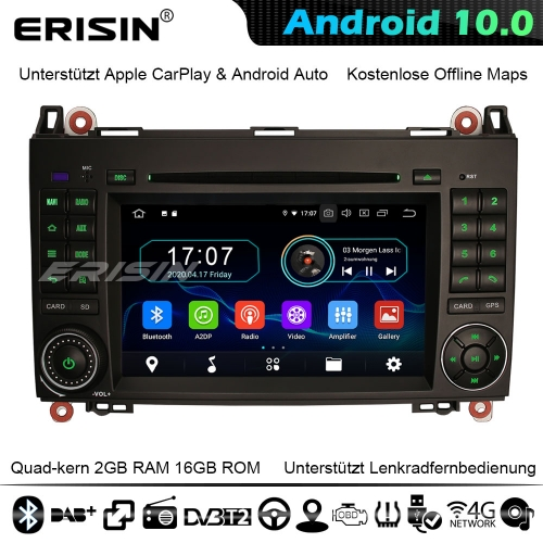 "Erisin ES5972B 7"" Android 10.0 Car Stereo GPS Radio SatNav Mercedes Benz A/B Class Sprinter Viano Vito VW Crafter CarPlay DVD 4G WiFi Bluetooth"